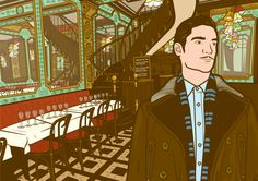 illustration scene in a Paris bistrot