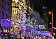 Luces de Navidad 2016 en Gran Vía en Madrid