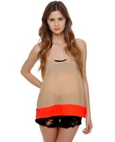Awesome Sauce Taupe and Neon Orange Tank Top #lovelulus