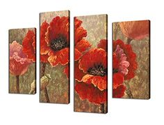 Canvas Wall Art Red Poppy Abstract Painting Prints on Canvas Framed and Ready to Hang  4 Panel Contemporary Painting Giclee Prints Fine Art Reproductions for Home and Office Decoration >>> See this great product.
