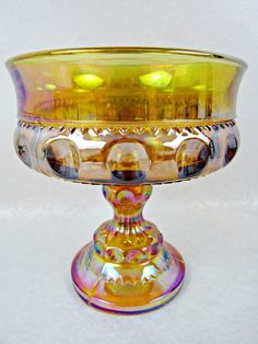 Indiana Carnival Candy Dish Glass King Crown Thumbprint Compote Iridescent Amber #IndianaGlass