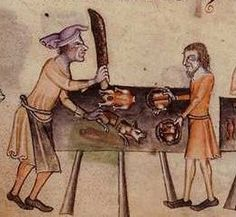 A medieval cook Bristol A cook chops up meat in this illumination from the 14th-century Luttrell Psalter (British Library.)