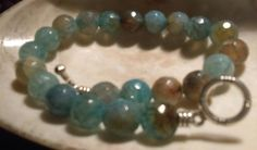 Mens semi-faceted 10mm Blue Dragon vein Agate bracetet/silver toggle clasp 8.5' #Beaded