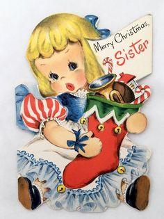 Vintage HALLMARK Die Cut Christmas Card Pretty Doll Dress Stocking House Candy