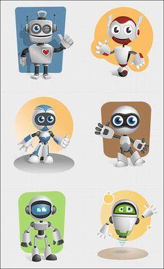 6+ Free Robot Vector Mascot Characters Set | Designrazzi