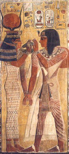 El faraon Seti I y la Diosa Hathor  Fragmento mural del pilar de la tumba de Seti I (KV 17) Museo del Louvre