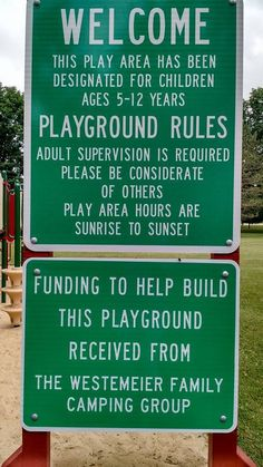 Westemeier Family Reunion, Coffin's Grove, Manchester, Iowa Playground Rules, The Reunion, Family Camping, Coffin, Iowa, Manchester, Sign, Signs