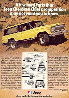 Jeep Cherokee Chief ad from 1977.