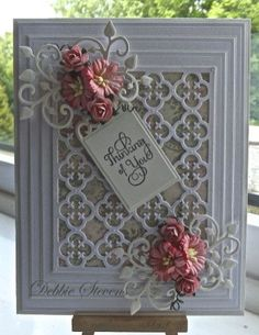 Ive used Spellbinders Grand rectangles,Spellbinders gift ensemble, Spellbinders our daily bread quatrefoil, Spellbinders antique frame and accents, the sentiment is large fancy sentiment from justrite, cream and white card stock from Annamarie