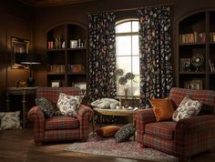 Dark colours are suave and sophisticated. Books quiet time and reflection. Dark Colors, Colours, Tropical Paradise, Arts And Crafts, Curtains, Architecture, Vintage, Inspiration, Carpets
