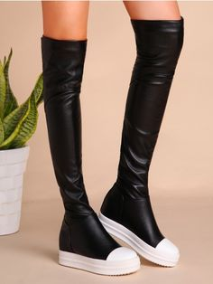 Black PU Cap Toe Flat Knee Boots Lining: Faux Leather Outsole Material: Rubber Style: Casual Season: Winter Boot Style: Knee High Color: Black Upper Material: … Black Knee Length Boots, Knee High Boots, Black Boots Flat, High Heels, Black Toe, Winter Fashion Boots, Winter Boots, Fall Fashion, Style Fashion