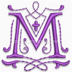 Letter M  Purple Heart font free on 4-27-15 from Cute Embroidery