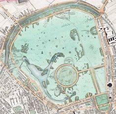 The Regent's Park in London by John Nash. A map from >>> Before the zoo, looks like. Probably from a 6 inches-to-the-mile series - beautiful levels of detail in the cartography. Old Maps Of London, London Map, Vintage London, Old London, London Travel, London City, Antique Maps, Vintage World Maps, Regents Park London