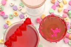 Sweet treats for Valentine's day. A Trio of cocktails.