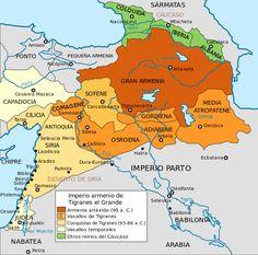 Maps of the Armenian Empire of Tigranes-es - Armenia - Wikipedia, la enciclopedia libre Armenian Military, Armenian History, Past Present Future, Mystery Of History, Old Maps, Historical Maps, Military History, Empire, Charts