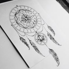 Dream catcher. My inspiration #tattoo #dreamcatcher #lotus #compass #symbols