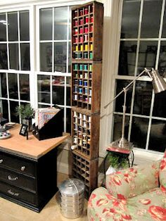 old coke crates for thread and other sewing items...& more organizational tips.