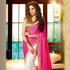 Fuchsia and White Net and Faux Crepe Saree with Blouse