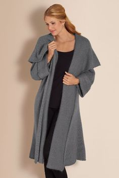 Telluride Topper You'll love snuggling into the exaggerated shawl collar of this fully fashioned, lightweight but warm acrylic/wool/mohair topper with wrist length raglan sleeves - 55% acrylic, 23% wool, 22% mohair