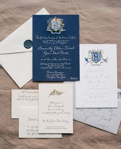 Our wedding suite was a collaboration between Happy Menocal and Bernard Maisner. We wanted to incorporate our favorite things: blue, hydrangeas (what Ryan proposed to me with), and lovebirds—what everyone calls us because we are inseparable. Happy designed two crests—the first, which was used for the save the date—shows the birds holding up a sign with the wedding date on it. For the wedding invitation, Bernard Maisner beautifully painted the lovebirds on top of the crest—a theme that would…