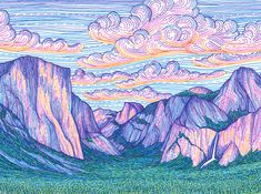 The Valley Sunset by Lizzy Dalton. This print is a reproduction of my original drawing, which was created using colored pens on paper, featuring a colorful depiction of Yosemite Valley at sunset. Archival print that will last over 100 years with proper Kunst Inspo, Art Inspo, Art And Illustration, Landscape Illustration, Art Sketches, Art Drawings, Posca Art, Drawn Art, Art Graphique