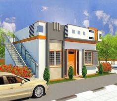 House Front Design, Small House Design, Door Design, 20x30 House Plans, House Elevation, Ground Floor, Mansions, Brick Wall, Architecture