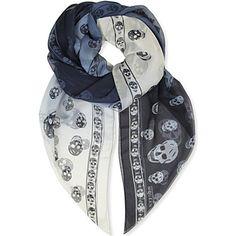 ALEXANDER MCQUEEN Skull Degrade silk-chiffon scarf in Blue white