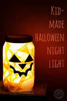 Halloween Night Light Kids Can Make - super easy project that would be great for a group from Kids Activities Blog