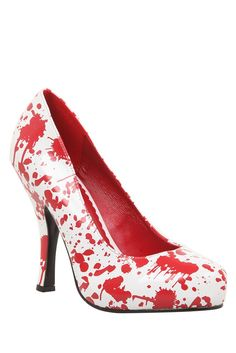 Blood splatter pumps -  I don't know how much this looks like blood. More like paint. If they wanted it to look like blood they should make the red parts shiny and the white parts matte (I did a MacBeth poster in high school with a similar scheme). It looks like it is one shiny shoe, but it's cool it you like the paint splatter look.