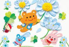 水色と白色の不織布を重ねると、さわやかなマーガレットに! 花びらは一部分をつぼめて貼ると、立体感がでます。 Kindergarten Art, Preschool Art, Backdrop Decorations, Backdrops, School Labels, Board For Kids, Arts And Crafts, Diy Crafts, Paper Plate Crafts