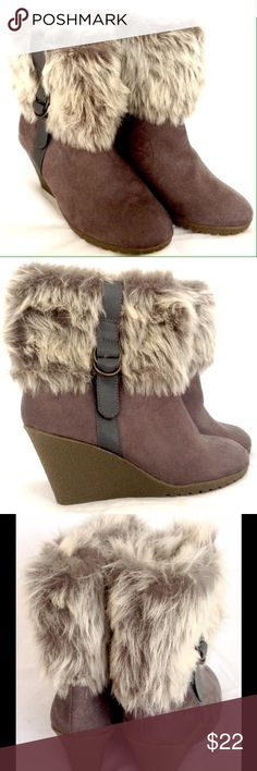 Old Navy Gray Fur Wedge Heel Booties Brand new with tags! Old Navy Size 8 gray booties.  Faux fur and suede. Perfect with skinny jeans or leggings. Wedge heels. Side buckle accents. Please ask all questions before you purchase. No trades. Please, no lowball offers. Old Navy Shoes Ankle Boots & Booties