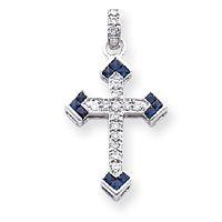 14k White Gold Diamond & Sapphire Cross Pendant
