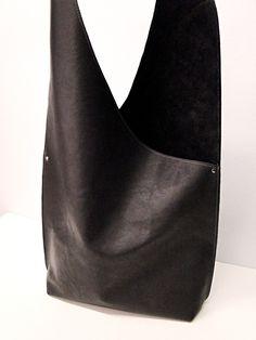 Shoulder Handbag Handmade In Leather - BLACK - beautiful