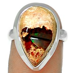 Mexican Opal 925 Sterling Silver Ring Jewelry s.8.5 MXOR540 - JJDesignerJewelry