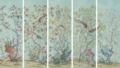 5 panel set of Bismarck -  densely designed chinoisierie wallpaper inspired by an original belonging to Mona Bismarck and later by Yves Saint Laurent | Fromental