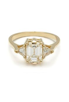 "Brides.com: . ""Bea"" three-stone ring, $8,000, Anna Sheffield"