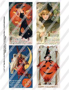 Vintage Halloween Postcard Digital Collage Bookmarks Hang Tags 5 Image Sheets 20 Tags Vintage Ephemera Printable DIY Instant Download via FantasyGraphicImages