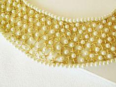 Collar oro collar, Collar de perlas, cuello Peter Pan, diseño exclusivo, Original, Turco bordado Art, OOAK, nueva colección 2013