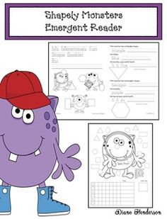 Includes a graphing extension to practice another math standard. Kids Reading, Reading Activities, Shape Activities, Monster Activities, Halloween Activities, Shape Games, Number Words, Thematic Units, Emergent Readers