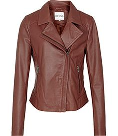 "Leather biker jacket from Reiss - brown is so much more flattering on people with ""light"" or ""warm"" colouring than black."