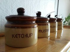 Items similar to Sauce Pots with Carousel // Condiment Jars and Spoons Lazy Suzan // Brown Stoneware // BBQ on Etsy Ketchup, Spoons, Carousel, Jars, Rose, Unique Jewelry, Handmade Gifts, Vintage, Kid Craft Gifts