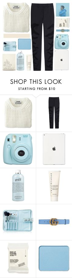 """""""flowers might wilt when we walk past"""" by thefray-louis ❤ liked on Polyvore featuring Acne Studios, Maison Margiela, Fujifilm, philosophy, Chantecaille, Senna Cosmetics, Gucci, Comodynes, shu uemura and tbotss"""
