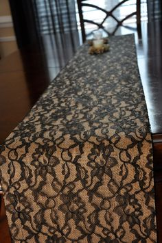Lace and Burlap Table Runner - Custom Made Table Runners - Black Lace Over Burlap Table Runner. $27.00, via Etsy.