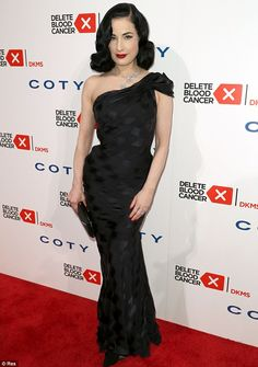 Oozing old Hollywood glamour: The 41-year-old burlesque icon appeared at the Delete Blood Cancer Gala in New York a week ago, channelling classic Dita in a black gown that hugged her slender and curvaceous figure