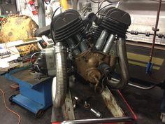 Howard V twin attached to a Subaru gearbox. Austin Seven, Subaru Cars, Motorcycle Engine, Small Cars, Biking, Motors, Harley Davidson, Twin, Motorcycles