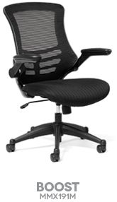 BOOST BASICS COLLECTION MESH BACK TASK CHAIR Boost your energy by sitting all day in this balanced and comfortable mesh back task chair. Boost's foldaway padded arms add a uniqueness not seen in this price category. Contoured waterfall seat and curved horizontal lined mesh back along with stylish detailing make this chair stand out in any crowd. Boost is so easy on your pocket book as well....one of our most aordable values from Ergo Contract Furniture.