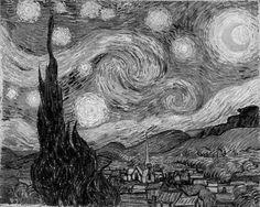 "A black & white rendition of V. van Gogh's ""Starry Night"" (van Gogh 1889)"