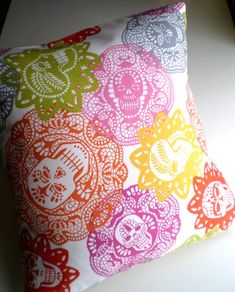 Dia de los muertos sugar skulls pillow cover: because why should Dia de los muertos only last a few days out of the year?