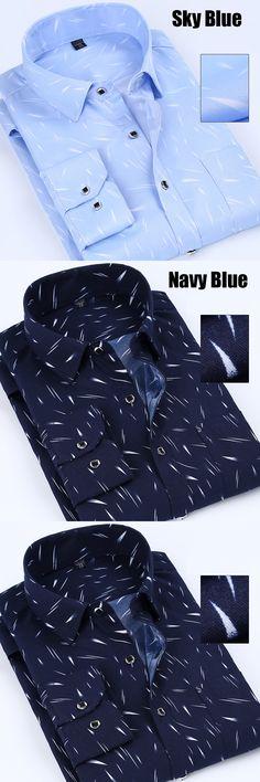 100% Polyester Men's Casual Shirt Print Summer Spring Long Sleeve Plus Size 5XL Blue Navy B1606-07