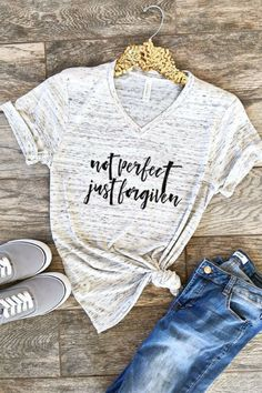 Not Perfect Just Forgiven Christian Shirt Boyfriend Style Unisex Tee Cute Shirt Graphic Tee #affiliate #clothing #tshirt